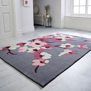 Infinite Blossom Charcoal/Pink Floral Rug by Flair Rugs