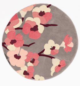 Infinite Blossom Charcoal/Pink Floral Circle Rug by Flair Rugs