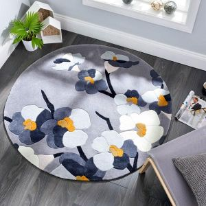 Infinite Blossom Grey/Ochre Floral Circle Rug By Flair Rugs