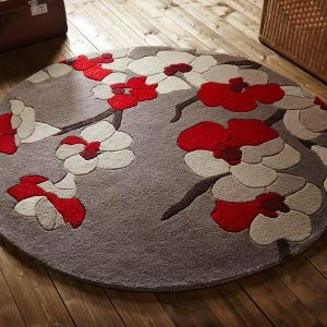 Infinite Blossom Red Floral Circle Rug By Flair Rugs