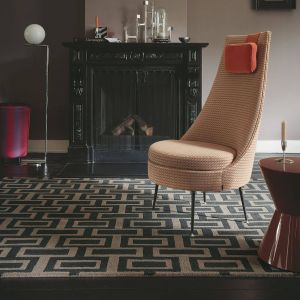 Intaglio 37205 Black Abstract Hand Tufted Wool Rug by Wedgwood