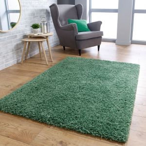 Isla Sage Green Plain Shaggy Rug by Oriental Weavers