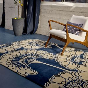 Japanese Floral Midnight 039708 Wool Rug by Florence Broadhurst