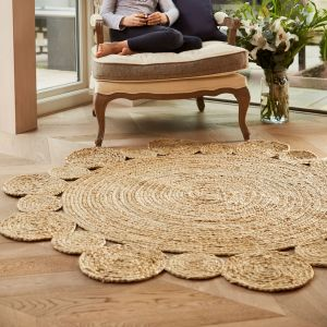 Jute Extra Natural Handmade Braid Stitched Circle Rug by Origins