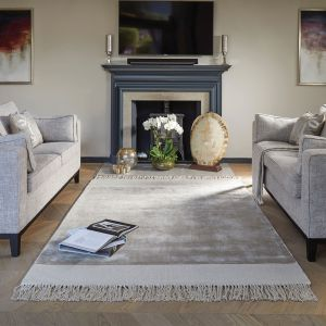 Karma Tassels Cloud Grey Rug by Rug Guru