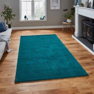 Kasbah KB2025 Dark Teal Geometric Wool Rug by Think Rugs