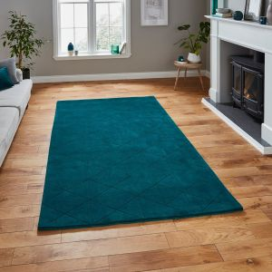 Kasbah KB2025 Jewel Green Geometric Wool Rug by Think Rugs