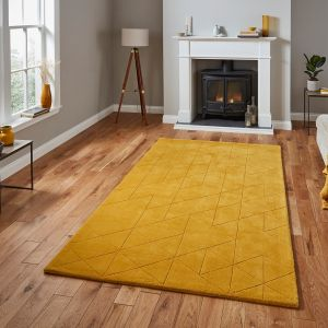 Kasbah KB2025 Ochre Geometric Wool Rug by Think Rugs