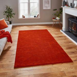 Kasbah KB2025 Terracotta Geometric Wool Rug by Think Rugs