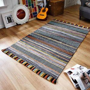 Kelim Stripe Charcoal Flateweave Rug by Oriental Weavers