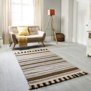 Kelim Stripe Ochre Flatweave Rug by Oriental Weavers