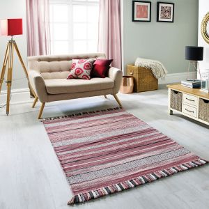 Kelim Stripe Pink Flatweave Rug by Oriental Weavers