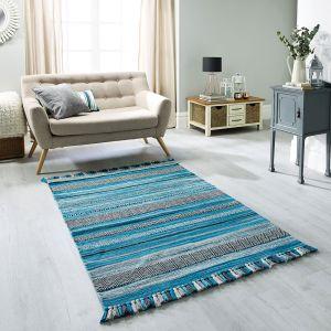 Kelim Stripe Teal Flatweave Rug by Oriental Weavers
