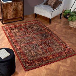 Keshan Heritage Persian Garden Red Wool Rug by HMC