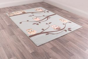 Kids Poly Owl Sky Graphics Rug by Rug Style