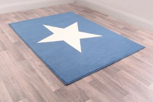 Kids Poly Star Blue Graphics Rug by Rug Style