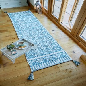 Leela Ivory Teal Traditional Runner by Flair Rugs