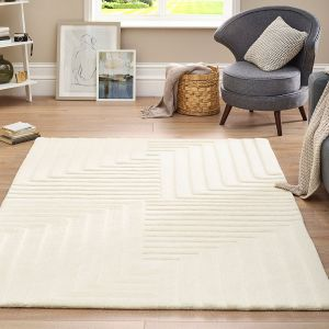 Linear Pristine Cream Geometric Wool Rug by Origins