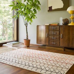 Linear  Stem Ombre 061103 Tomato Wool Rug by Orla Kiely