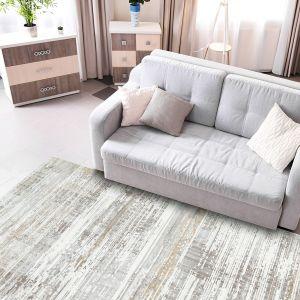Linnea LINN02 Ivory Grey Abstract Rug by Concept Looms