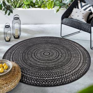 Lipari Black Charcoal Grey Abstract Circle Rug by Flair Rugs