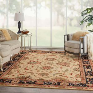 Living Treasures LI04 Ivory Black Traditional Wool Rug by Nourison