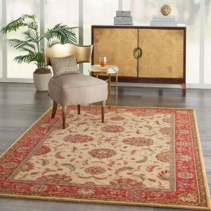 Living Treasures LI04 Ivory Red Traditional Wool Rug by Nourison