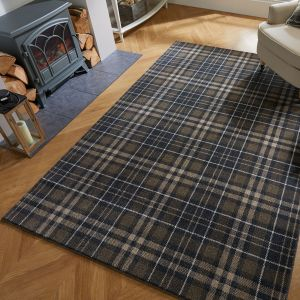 Loch Kilbirnie Dark Grey Chequered Rug by Flair Rugs