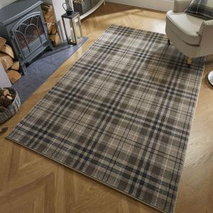 Loch Kilbirnie Natural Chequered Rug by Flair Rugs