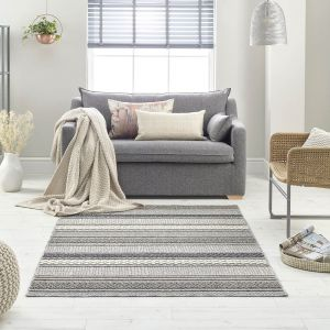 Loop 7438A Ivory Dark Grey Geometric Rug by Mastercraft