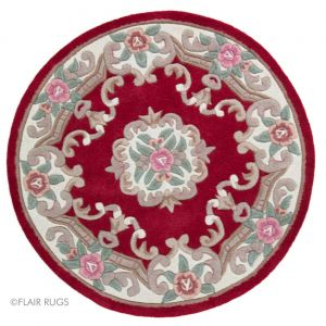 Lotus Premium Aubusson Red Circle Rug By Flair Rugs