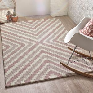Lulu Pink Natural Wool Rug by Origins