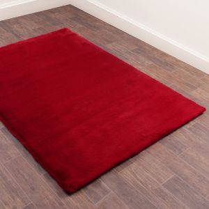Luxe Faux Fur Red Plain Shaggy Rug by HMC