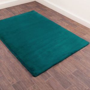 Luxe Faux Fur Teal Plain Shaggy Rug by HMC