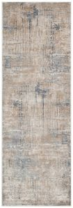 Luzon LUZ802 Taupe Blue Abstract Runner by Concept Looms