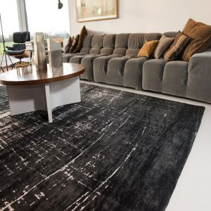 Mad Men Griff 8655 White on Black Rug by Louis De Poortere