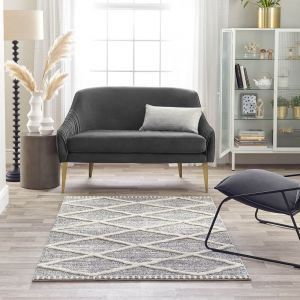 Maison 7863A White Light Grey Geometric Rug by Mastercraft