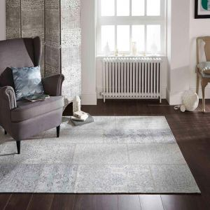 Manhattan Patchwork Chenille Duck Egg Rug by Flair Rugs
