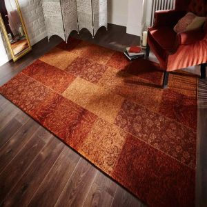 Manhattan Patchwork Chenille Terracotta Rug by Flair Rugs