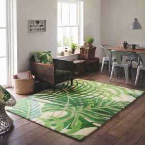 Manila 46407 Green Hand Tufted Wool Rug by Sanderson