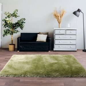 Mayfair Green Shaggy Rug by HMC