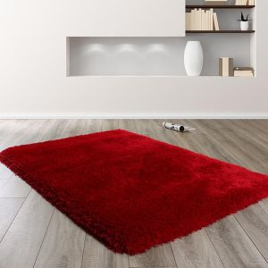 Mayfair Red Shaggy Rug by HMC