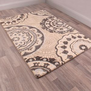 Merino Barton Black White Wool Rug by Prestige