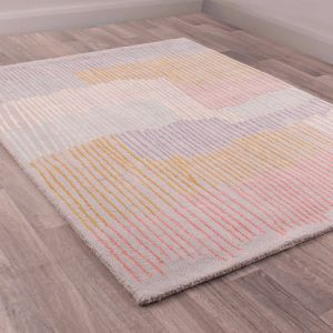 Merino Memphis Linear Grey Wool Rug by Prestige