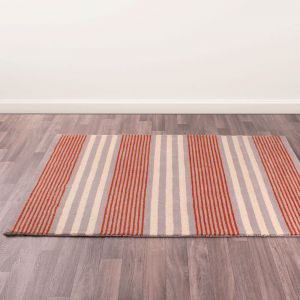 Merino Parker Stripe Orange Wool Rug by Prestige