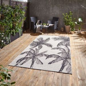 Miami A444 Cream Black Outdoor Rug by Think Rugs