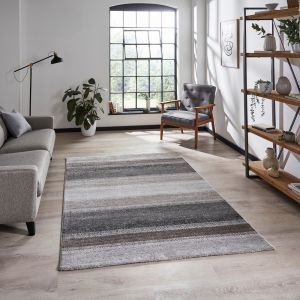 Milano 20687 Grey Beige Striped Rug by Think Rugs