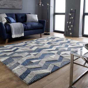 Moda Asher Blue Wool Geometric Runner by Flair Rugs