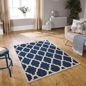 Moda Flatweave Trellis Blue Rug by Oriental Weavers