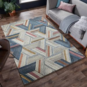 Moda Ortiz Natural Multi Wool Rug by Flair Rugs